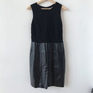 Renvy lace and leather black dress